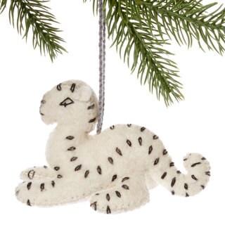 Handmade Felt Snow Leopard Holiday Ornament (Kyrgyzstan)