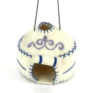 Handmade Felt Yurt Holiday Ornament (Kyrgyzstan)