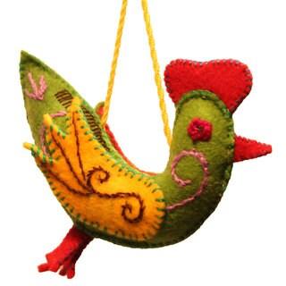 Handmade Felt Chickadee Holiday Ornament (Kyrgyzstan)