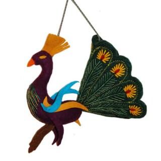 Handmade Felt Forest Green Peacock Holiday Ornament (Kyrgyzstan)