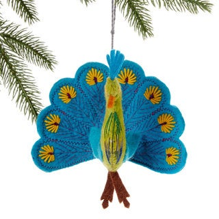 Handmade Felt Turquoise Peacock Holiday Ornament (Kyrgyzstan)
