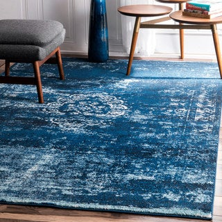 nuLOOM Traditional Overdyed Medallion Blue Rug (5' x 7'5)