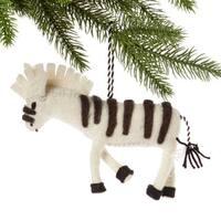Handmade Felt Zebra Holiday Ornament (Kyrgyzstan)