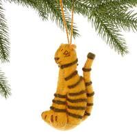Handmade Felt Tiger Holiday Ornament (Kyrgyzstan)