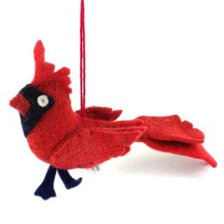 Handmade Felt Cardinal Holiday Ornament (Kyrgyzstan)
