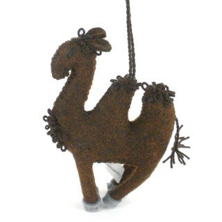 Handmade Felt Camel Holiday Ornament (Kyrgyzstan)