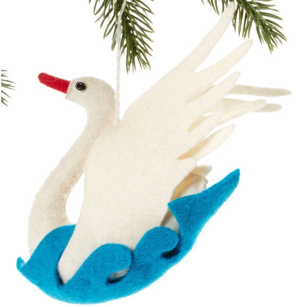 Handmade Felt Swan Holiday Ornament (Kyrgyzstan)