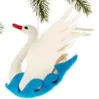 Handmade Felt Swan Holiday Ornament (Kyrgyzstan)
