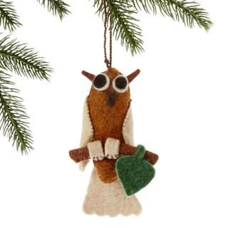 Handmade Felt Owl Holiday Ornament (Kyrgyzstan)