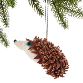 Handmade Felt Hedgehog Holiday Ornament (Kyrgyzstan)
