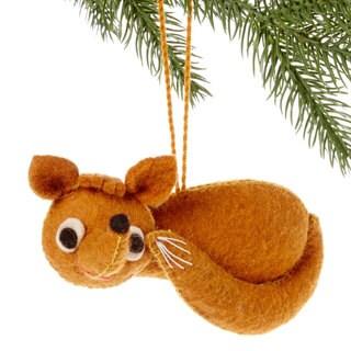 Handmade Felt Fox Holiday Ornament (Kyrgyzstan)