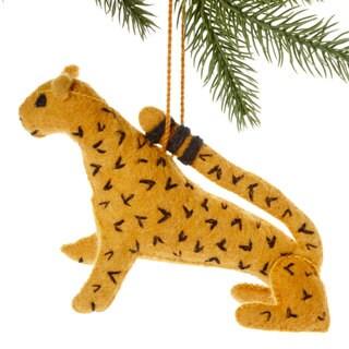 Handmade Felt Jaguar Holiday Ornament (Kyrgyzstan)