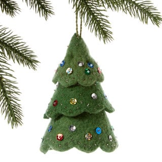 Handmade Felt Green Tree Holiday Ornament (Kyrgyzstan)