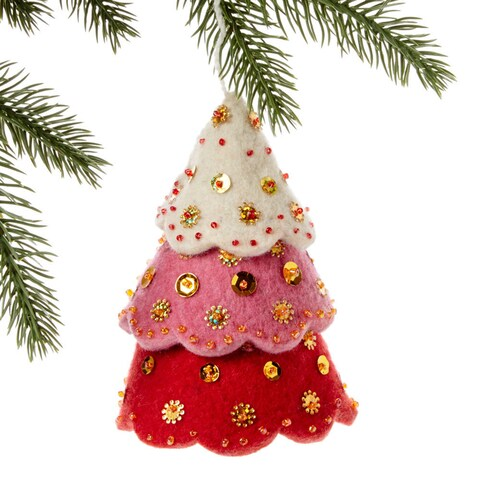 Handmade Felt Tiered Red Tree Holiday Ornament (Kyrgyzstan)