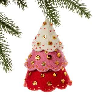 Handmade Felt Tiered Red Tree Holiday Ornament (Kyrgyzstan)