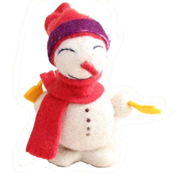 Handmade Felt Snowman Holiday Ornament (Kyrgyzstan)