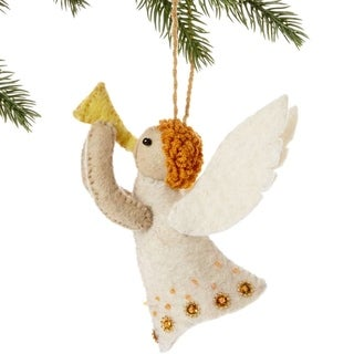Handmade Felt Angel Holiday Ornament (Kyrgyzstan)
