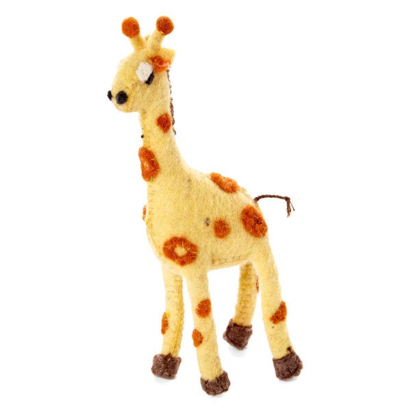 Handmade Felt Giraffe Holiday Ornament (Kyrgyzstan) - Shop Handmade Felt Giraffe Holiday Ornament (Kyrgyzstan) - Free