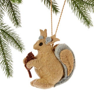 Handmade Felt Squirrel Holiday Ornament (Kyrgyzstan)