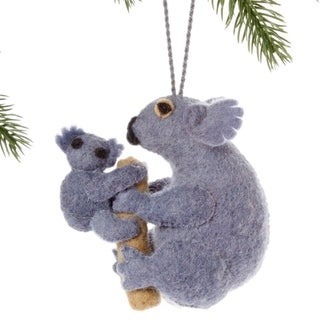 Handmade Felt Koala Family Holiday Ornament (Kyrgyzstan)