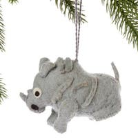 Handmade Felt Rhino Holiday Ornament (Kyrgyzstan)