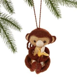 Handmade Felt Monkey Holiday Ornament (Kyrgyzstan)