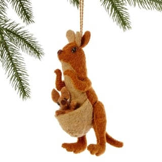 Handmade Felt Kangaroo and Joey Holiday Ornament (Kyrgyzstan)