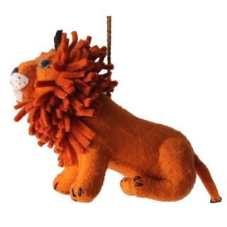 Handmade Felt Lion Holiday Ornament (Kyrgyzstan)