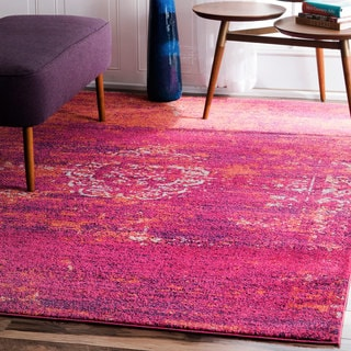 nuLOOM Traditional Overdyed Medallion Fuchsia Rug (8' x 10')