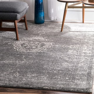 nuLOOM Traditional Overdyed Medallion Grey Rug (8' x 10')