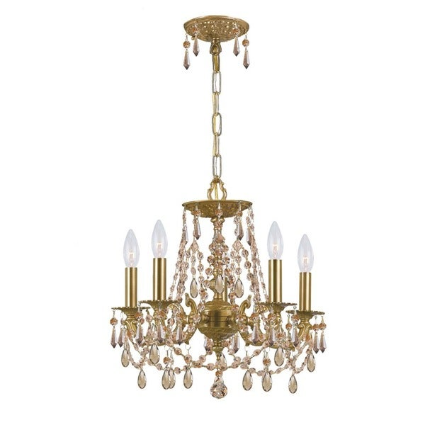 Crystorama Gramercy Collection 5-light Aged Brass/Golden Teak Swarovski Elements Strass Crystal Mini Chandeli