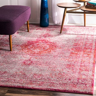 nuLOOM Traditional Overdyed Medallion Pink Rug (9' x 12')