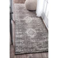 nuLOOM Traditional Overdyed Medallion Grey Runner Rug - 2'8 x 8'