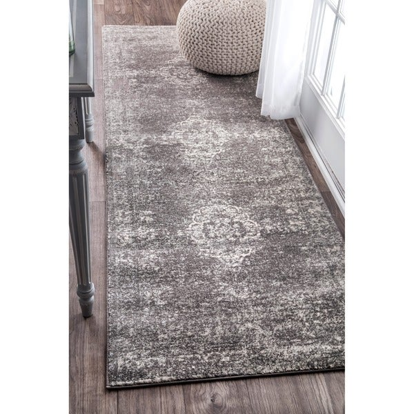 nuLOOM Traditional Overdyed Medallion Grey Runner Rug (2'8 x 8')