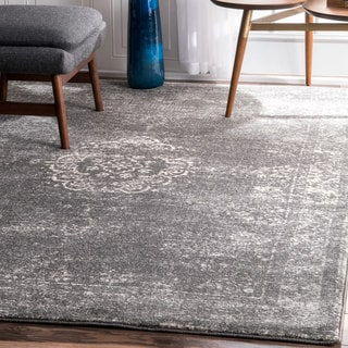 nuLOOM Traditional Overdyed Medallion Grey Rug (9' x 12')