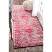 nuLOOM Traditional Overdyed Medallion Pink Runner Rug (2'8 x 8')