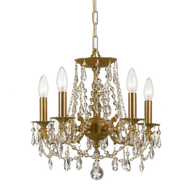 Crystorama Gramercy Collection 5-light Aged Brass/Crystal Mini Chandelier