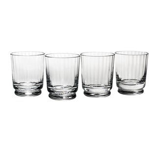 Reed Barton Austin Clear Crystal 4.125 Inch Double Old Fashioned Glasses  (Pack Of 4