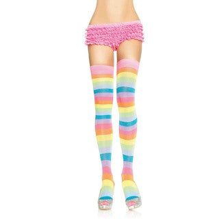 Leg Avenue Women's Neon Rainbow Acrylic Thigh High Stockings