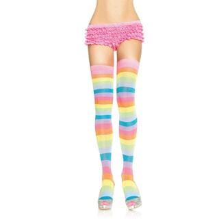 Leg Avenue Women's Neon Rainbow Acrylic Thigh High Stockings