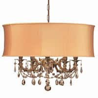 Crystorama Gramercy Collection 5-light Aged Brass/Golden Teak Crystal Chandelier