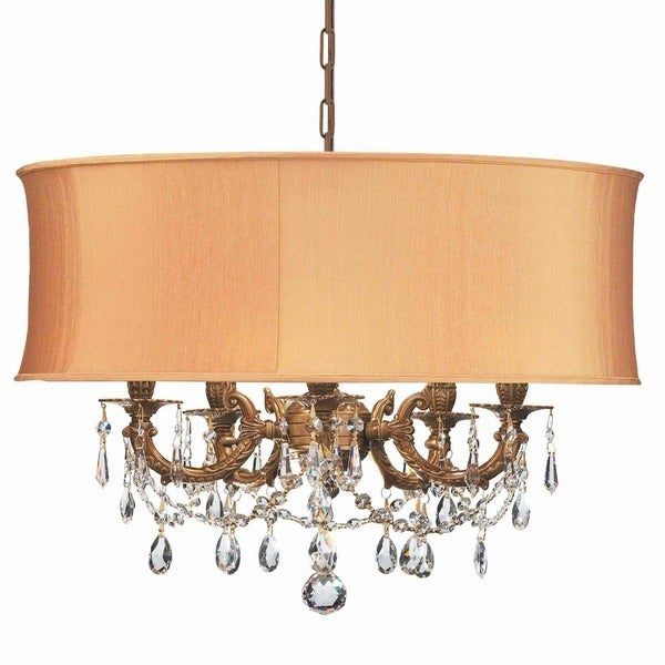 Crystorama Gramercy Collection 5-light Aged Brass/Swarovski Elements Spectra Crystal Chandelier