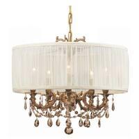 Crystorama Gramercy Collection 5-light Aged Brass/Golden Teak Swarovski Strass Crystal Chandelier