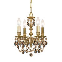 Crystorama Gramercy Collection 4-light Aged Brass/Golden Teak Crystal Mini Chandelier