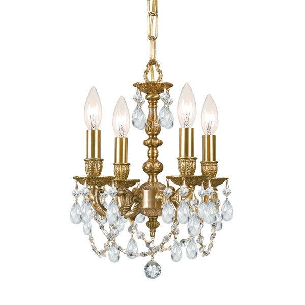 Crystorama Gramercy Collection 4-light Aged Brass/Crystal Mini Chandelier