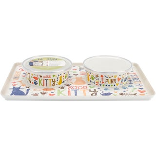 Sit-N-Stay Cat Magnetic Tray and Bowl Set