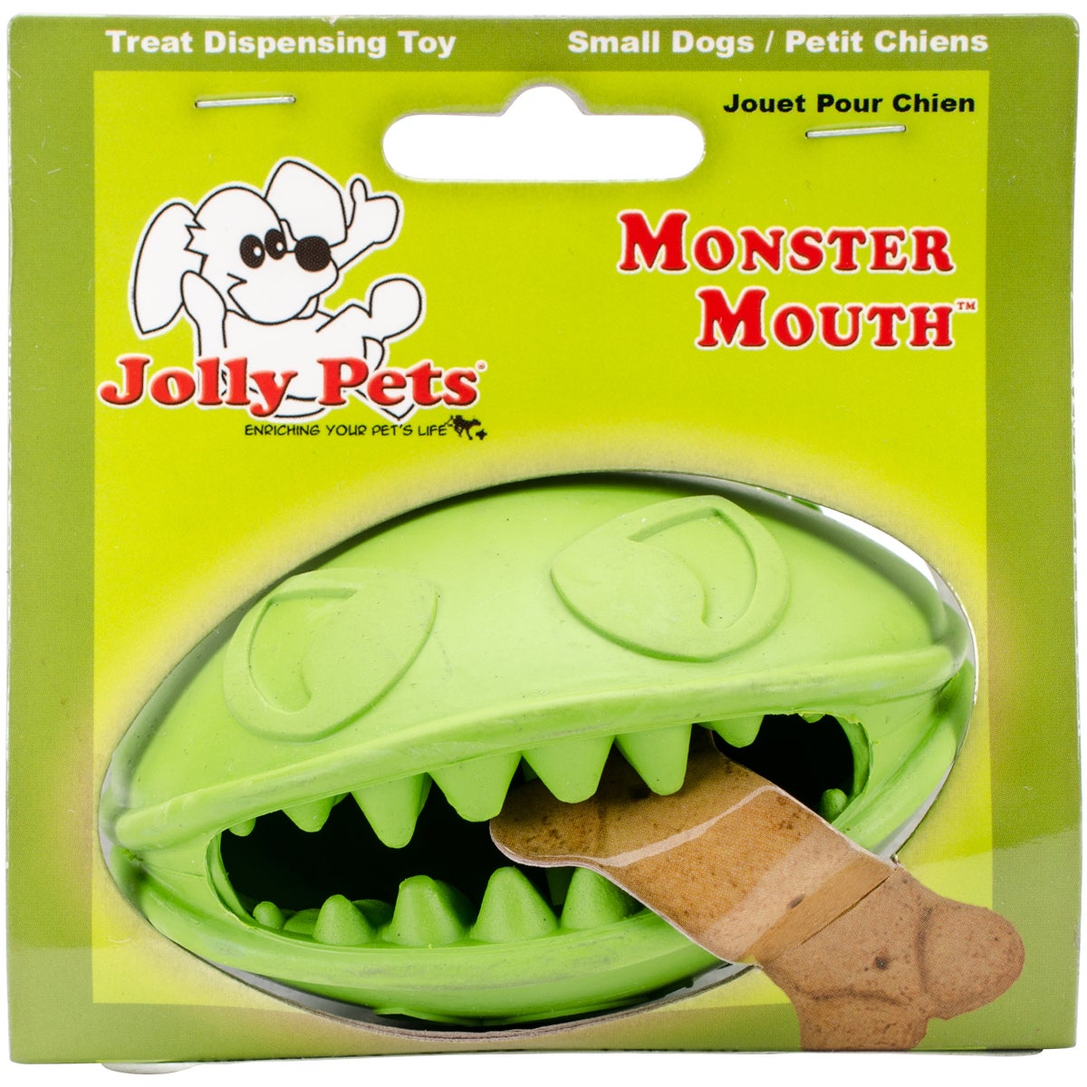 "Jolly Pet Monster Mouth Dog Ball (Green 4""), Size 4"""