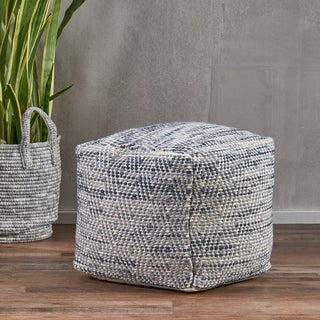 Christopher Knight Home Barnby Blue and Ivory Wool Pouf