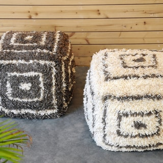 Christopher Knight Home Cypress Charcoal and Ivory Wool Pouf