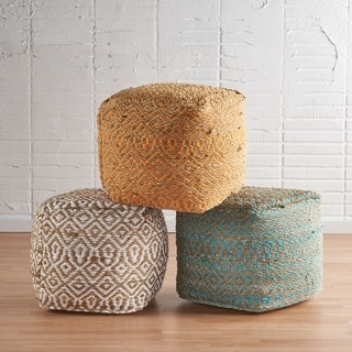 Preston Handcrafted Boho Fabric Pouf by Christopher Knight Home